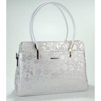 Луксозна дамска чанта от естествена кожа в бяло и сребърно 44444