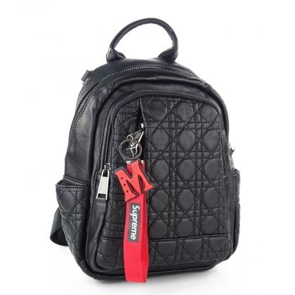 Черна  раница- чанта от естествена кожа, 1577S