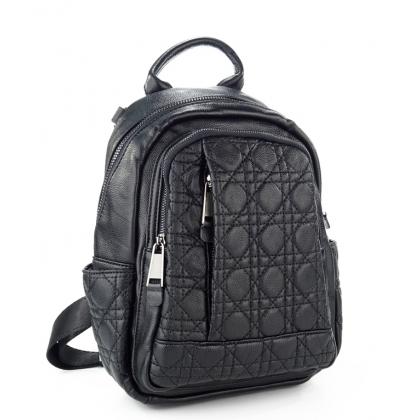 Черна раница чанта от естествена кожа, 2 в 1, 1577