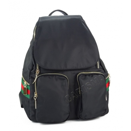 Черна раница от плат с два джоба, 4811G