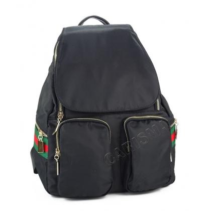 Черна раница от текстил с два джоба, 4811G