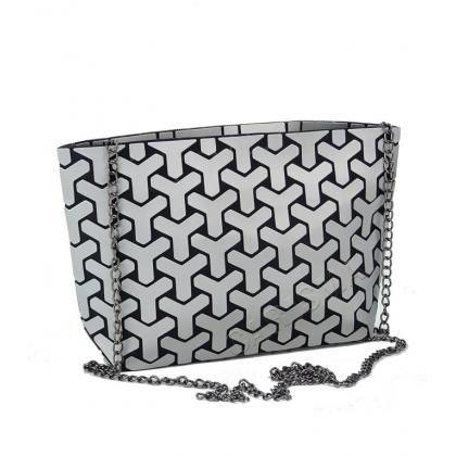 Чанта тип несесер с фигурки в сив цвят, 4838Y