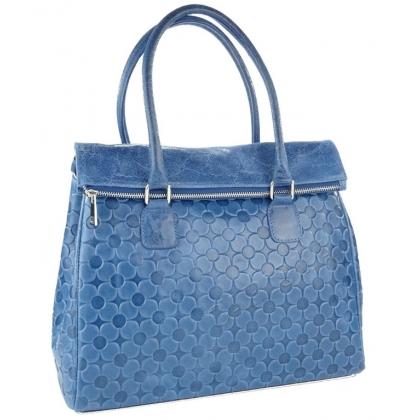 Дамска чанта от естествена кожа в синьо 1177L-1