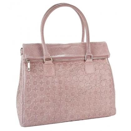 Дамска чанта от естествена кожа в розово 1177L-2