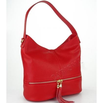 Дамска чанта от естествена кожа в червено 1218-6