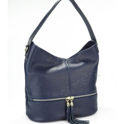 Дамска чанта от естествена кожа в тъмно синьо 1218-7