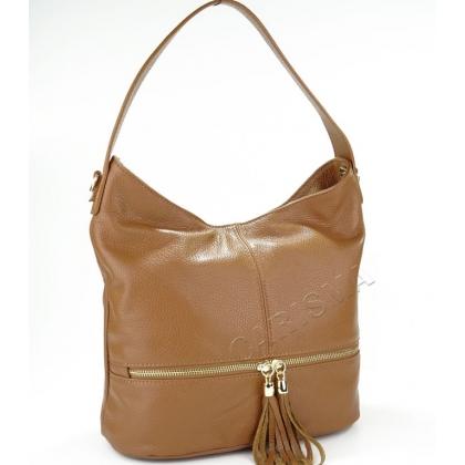 Дамска чанта от естествена кожа в кафяво 1218-8