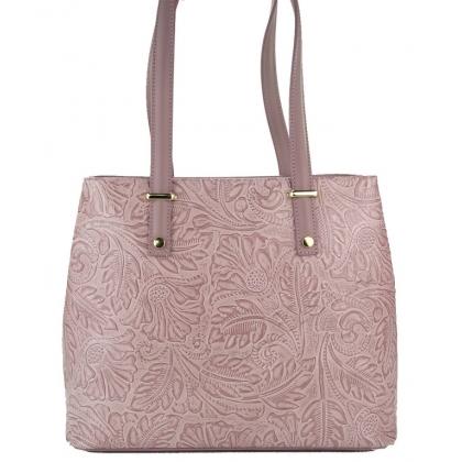 Чанта от естествена кожа с флорални мотиви 1154-2
