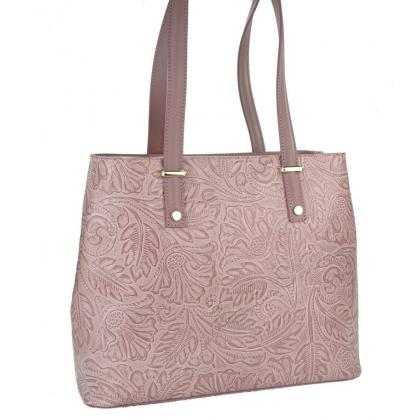 Чанта от естествена кожа с флорални мотиви 11543-2