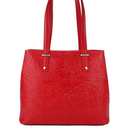 Чанта от естествена кожа с флорални мотиви в червено 1154-3