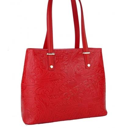 Чанта от естествена кожа с флорални мотиви в червено 11543-3