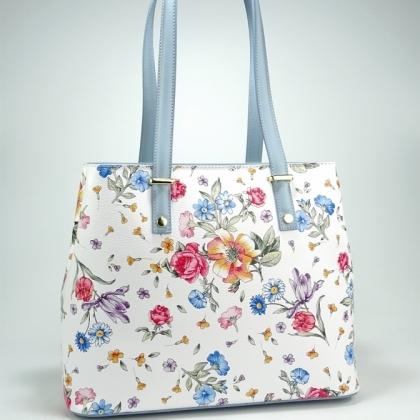 Дамска чанта от естествена кожа с щампа цветя