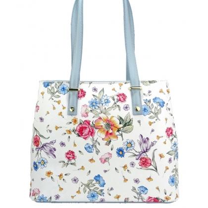 90829b87dfa Бяла чанта от естествена кожа с щампа с флорални мотиви 1154-4