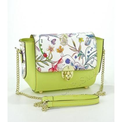 Малка дамска кожена чанта в жълто на цветя