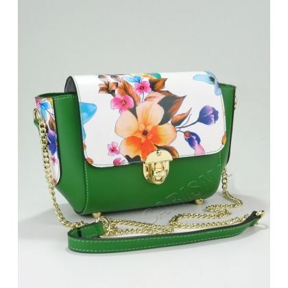 Дамска чанта от естествена кожа в зелено на цветя 1947-1