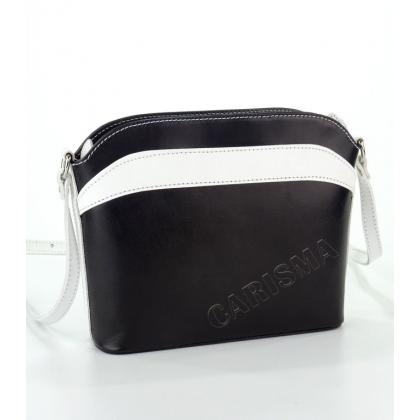 Дамска чанта от естествена кожа в бяло и черно 16668