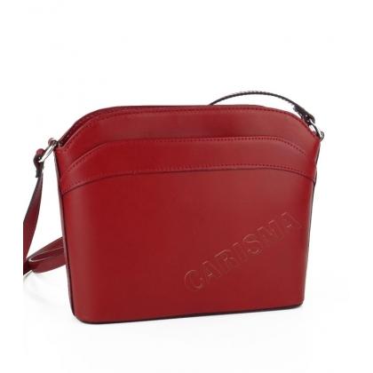 Дамска чанта от естествена кожа в тъмно червено 16668-1