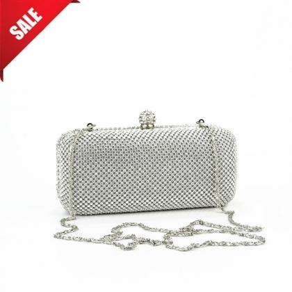 Абитуриентска/Вечерна чанта с камъни в сребристо 110MQ-1