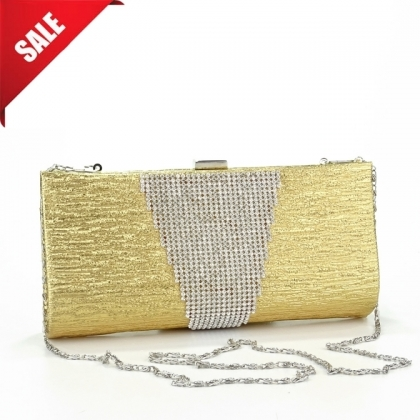 Абитуриентска чанта от еко кожа и камъни в златисто 2079MQ-1
