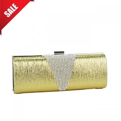 Златиста абитуриентска чанта от еко кожа с камъни 1033MQ