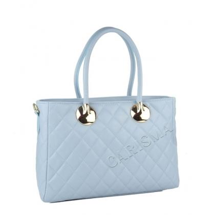 Дамска кожена чанта с декоративен шал, светлосиня 4572IT-1