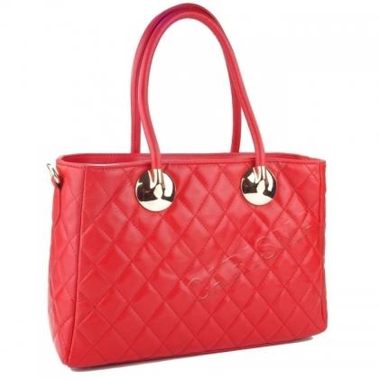 Дамска кожена чанта с декоративен шал, червена 4572IT-2