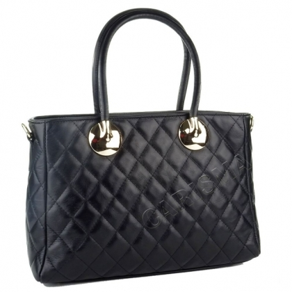 Черна дамска кожена чанта с декоративен шал 4572IT