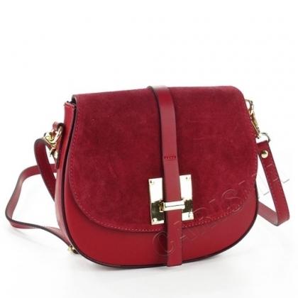 Малка чанта от естествена кожа, тъмночервена 10283