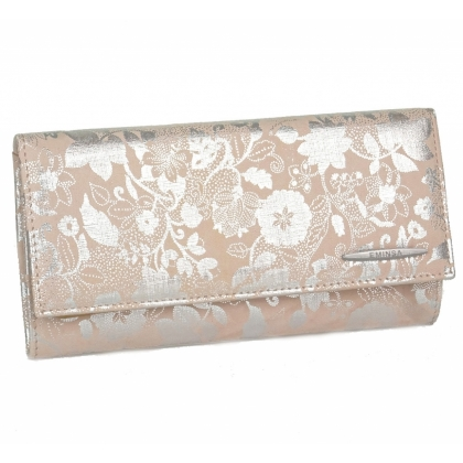 Розов портфейл на сребристи цветя, 2153-6