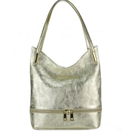 Мека кожена чанта в златист цвят, 1075