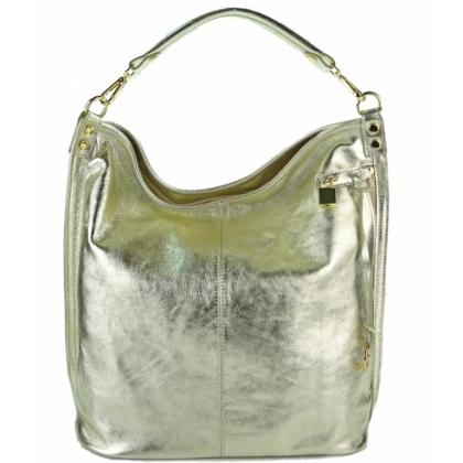 Златна кожена чанта тип торба 16661
