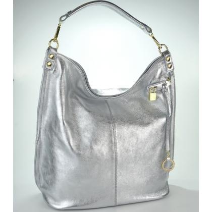 Сребриста кожена чанта тип торба 16661 -1