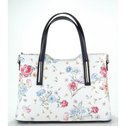 Бяла чанта от естествена кожа на цветя с тъмно сини дръжки 11111-5