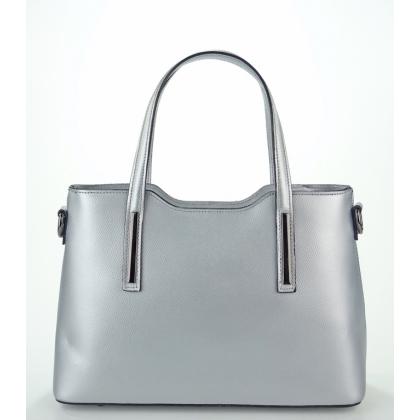 Дамска чанта от естествена кожа в сребрист цвят 11111-6