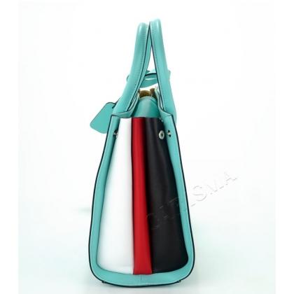 Дамска кожена чанта в морско зелен цвят