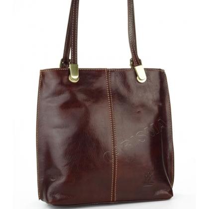 Луксозна чанта/раница от естествена кожа в цвят шоколад 14210