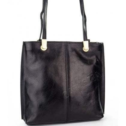 Луксозна чанта/раница от естествена кожа в черно 14210-1