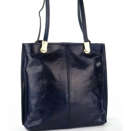 Луксозна чанта/раница от естествена кожа в тъмносиньо 14210-2