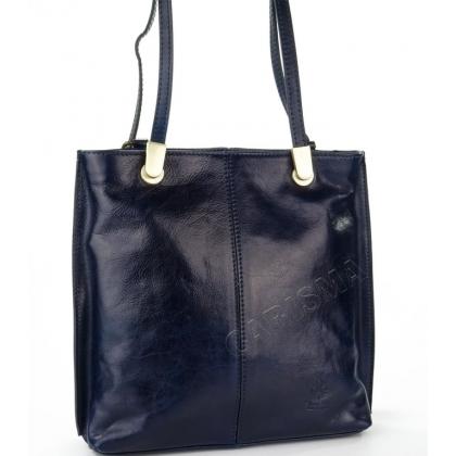 Тъмносиня чанта/раница от естествена кожа, 14210-2