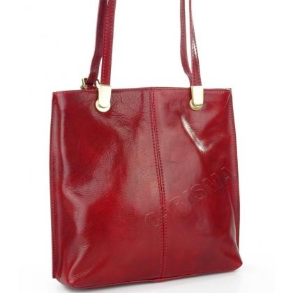 Луксозна чанта/раница от естествена кожа в тъмночервено 14210-3