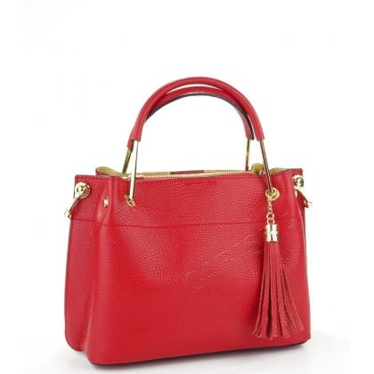 Дамска чанта от естествен кожа в червено 11534-2