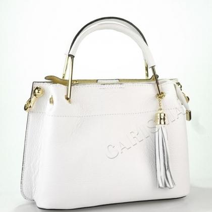 Дамска чанта от естествена кожа в бяло 11534