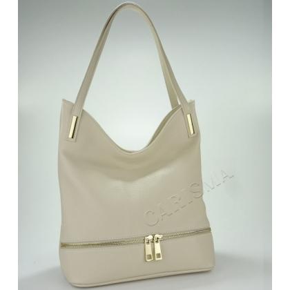 Дамска кожена чанта в бежов цвят 1075-1