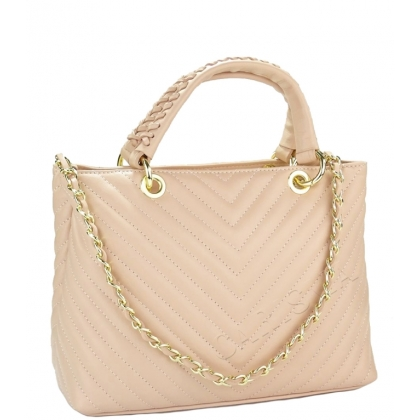 Стилна кожена чанта с капитониран дизайн, Пудра 1823
