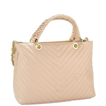 Кожена чанта в цвят пудра, капитониран дизайн