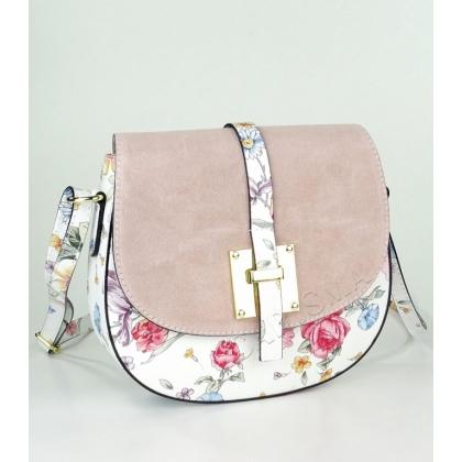 Дамска кожена чанта с капак от велур