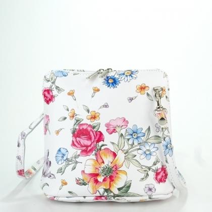 Малка чанта от естествена кожа с флорални мотиви 1353-1