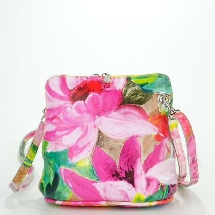 Малка дамска чанта от естествена кожа с цветен принт 1353-2
