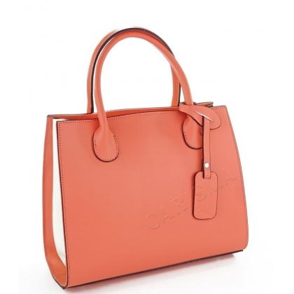 Луксозна дамска чанта от естествена кожа, Корал 6565-3