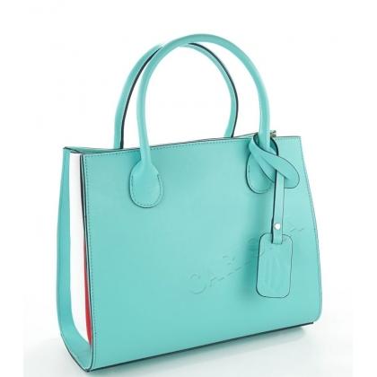 Луксозна дамска чанта от естествена кожа, Тюркоаз, 6565-2